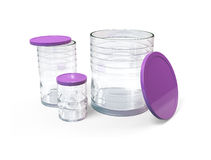 Collection jars with caps Royalty Free Stock Photos