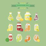 Collection of jars with jam. Vector objects in flat stock illustration