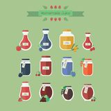 Collection of jars with juice. Vector objects in flat. Set of vector elements for web design. Glass jars of juice with berries and banner royalty free illustration