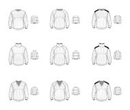 Collection of jersey sweater pullover. Casual clothes. Vector il Royalty Free Stock Image