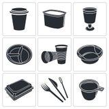 Collection jetable d'icône de vaisselle Photos stock