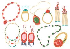 Collection of Jewelry Accessories, Necklace, Earrings, Pendant, Beads, Ring Vector Illustration. On White Background vector illustration