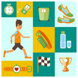 Collection of Jogging and running equipment icons. Stock Photos