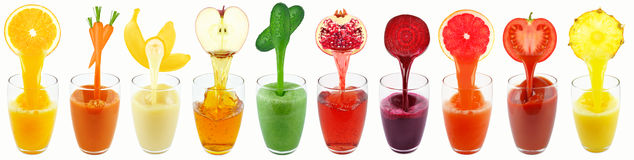Collection juices Stock Images