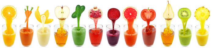 Collection juices Stock Photography