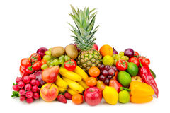 Collection juicy fruits and vegetables royalty free stock photos