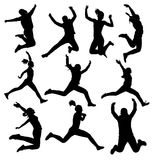 Collection of jumping female silhouette Stock Image