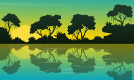 Collection jungle beauty landscape silhouette Royalty Free Stock Images