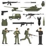 Collection kaki d'icônes de couleur d'armée militaire Photo libre de droits