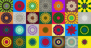 Collection of kaleidoscopic designs Stock Image