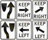 Collection of keep left and right signs used in the USA Royalty Free Stock Photography