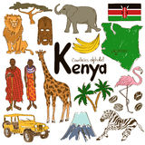 Collection of Kenya icons. Fun colorful sketch collection of Kenya icons, countries alphabet Stock Photography