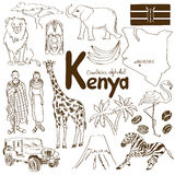 Collection of Kenya icons. Fun sketch collection of Kenya icons, countries alphabet Stock Images