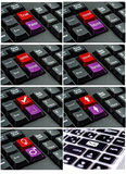 Collection of keyboard with the word  written on a button. Stock Image