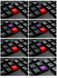 Collection of keyboard with the word  written on a button. Stock Photo