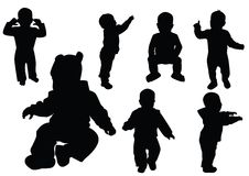 Collection of kids. Black outline. Vector stock illustration