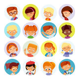 Collection of kids avatars,cute cartoon boys and girls faces. Royalty Free Stock Photos