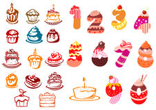 Collection of kids birthday icons Stock Image