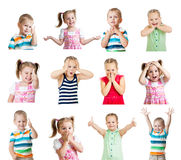 Collection of kids with different emotions isolated on white bac. Collection of kids with different positive emotions isolated on white background Royalty Free Stock Photography