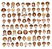 Collection of kids' faces. Collection of colorful hand drawn kids' faces stock illustration