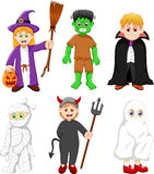 Collection of kids with halloween costume Stock Image