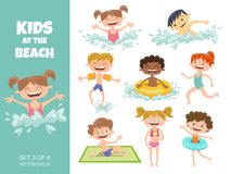 Collection of kids playing at the beach. Cartoon characters isolated on white. Funny boys and girls swimming, running, jumping, s vector illustration