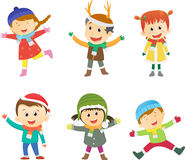 Collection of kids in winter costume Royalty Free Stock Photography