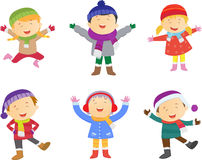 Collection of kids in winter costume Royalty Free Stock Photo