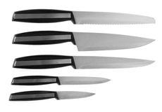 Collection of the kitchen knifes Royalty Free Stock Image