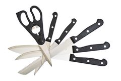The collection of kitchen knives and scissors on Royalty Free Stock Photos