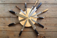 Collection of  kitchen knives Royalty Free Stock Photos