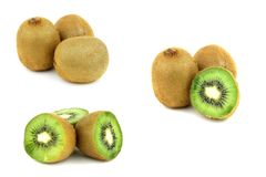 Collection of kiwi fruits isolated on white backgr Royalty Free Stock Images