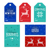Collection of knitted Christmas card templates. Colorful New Year present tags made in vector. Name cards for presents. Stock Photography