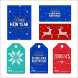 Collection of knitted Christmas card templates. Colorful New Year present tags made in vector. Name cards for presents. Royalty Free Stock Photos