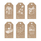 Collection of  kraft paper festive tags. Stock Photos