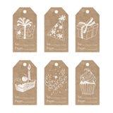 Collection of  kraft paper festive tags. Festive tags. Vector collection of festive illustrations on kraft paper Stock Photos