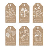 Collection of  kraft paper festive tags. Festive tags. Vector collection of festive illustrations on kraft paper Royalty Free Stock Images