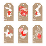 Collection of  kraft paper tags with  Easter motifs. Hand-drawn  set of tags with the symbols of Easter Stock Images