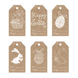 Collection of  kraft paper tags with  Easter motifs. Easter tags. Vector collection on kraft paper Royalty Free Stock Photography
