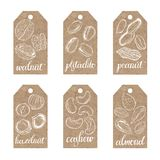 Collection of kraft paper tags with nuts. Tags with nuts on kraft paper.Vector collection Royalty Free Stock Photo