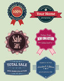 Collection labels and badges, vintage retro set. Collection of labels and badges, vintage retro set stock illustration