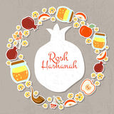 Collection of labels and elements for Rosh Hashanah (Jewish New Stock Images