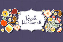 Collection of labels and elements for Rosh Hashanah (Jewish New. Vector collection of labels and elements for Rosh Hashanah (Jewish New Year). Icon or badge with Stock Photo