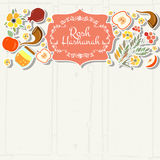 Collection of labels and elements for Rosh Hashanah (Jewish New Royalty Free Stock Photography