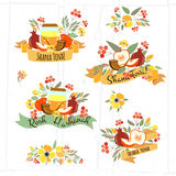 Collection of labels and elements for Rosh Hashanah (Jewish New. Vector collection of labels and elements for Jewish New Year. Icons and badges with signatures Royalty Free Stock Images