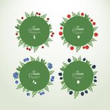 Collection labels with fresh berries Stock Image