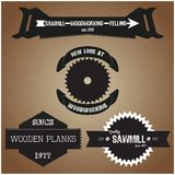 Collection of labels and logos on the theme of woodworking in retro vintage style vector Stock Photo