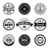 Collection of Labels with retro vintage styled design. Set of Vintage Vector Labels and Badges. Hipster style. Design element. Vector illustration Stock Photography