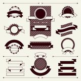 Collection of labels and ribbons in retro vintage Stock Photo