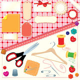 Collection of labels,sewing,knitting tools. Stock Image
